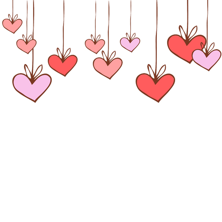 background with painted pink hearts on strings, isolated Illustration