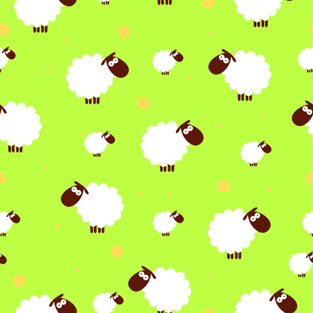seamless texture of white sheep on an green background