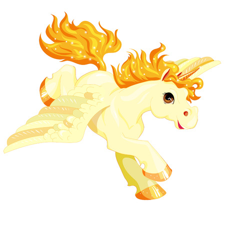 running golden pony with a horn and wings, isolated