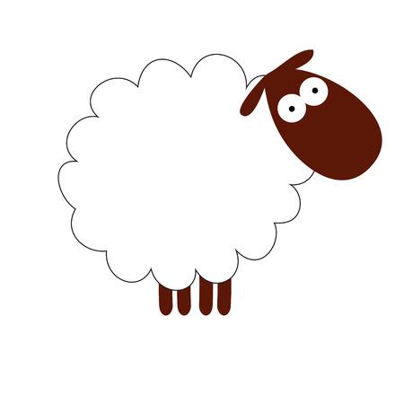 Funny white sheep isolated Illustration