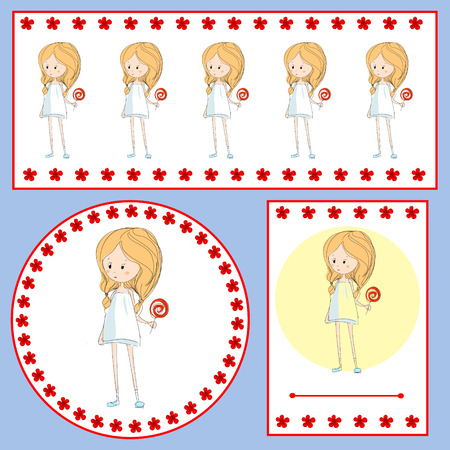 set of cards with a little girl with a lollipop and red flowers