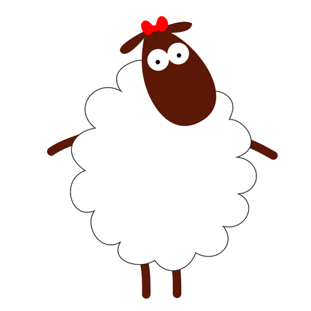 Funny white sheep isolated Vector