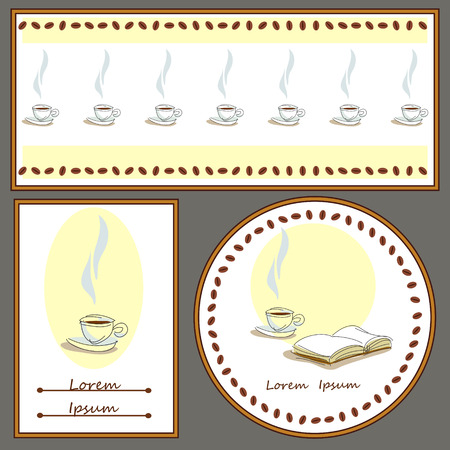 set of cards with coffee and books Illustration