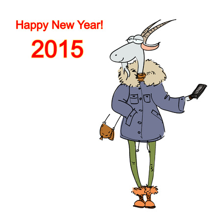 Hand drawn illustration of a goat dressed in a casual style makes selfie, Christmas card Illustration