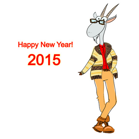 Hand drawn stylish goat dressed in a casual style on a white background, Christmas card 2015