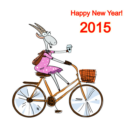 Hand drawn stylish feminine goat dressed in a casual style on a bike with coffee, Christmas card