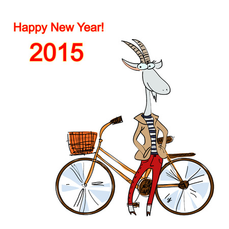 Hand-drawn fashion goat dressed in a casual style with a bike