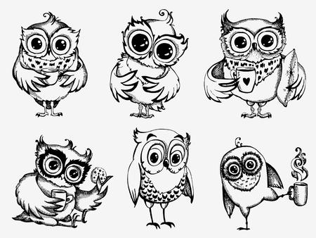 Hand drawn sleepy owls  with cup of coffee, funny character set, Inspirational morning collection for cafe menu, prints, mugs, banners. Vector illustration