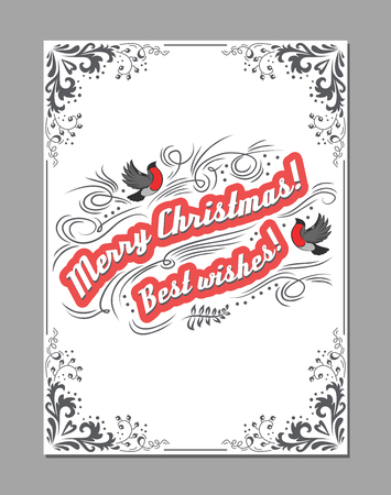 Merry Christmas, Best wishes. Greeting poster with bullfinch and decoration elements. Retro christmas design for banner, print or postcard