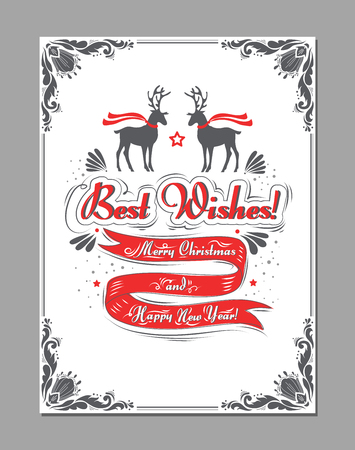 Merry Christmas and Happy New Year. Best Wishes. Greeting typography witn ribbon and deer. Design element  for greeting card, banner, print or poster Illustration