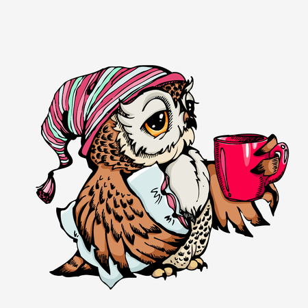 Vector cute Owl Hand drawn cartoon character. Can be used for bags and t-shirt print, fashion print design element, poster
