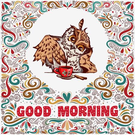 Goedemorgen. Inspirerende tekst met hand getrokken schattige uil en decoratie-elementen voor t-shirt en tassen ontwerp, wenskaart, print en banner
