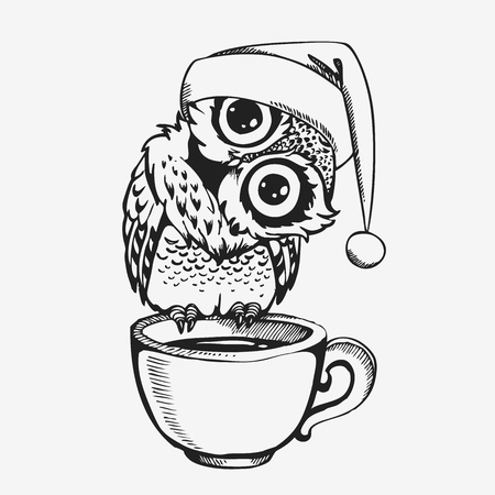 Cute owl with cup line sketch hand drawn cartoon character. Vector illustration for t-shirt print design, coloring book, greeting and invitation card