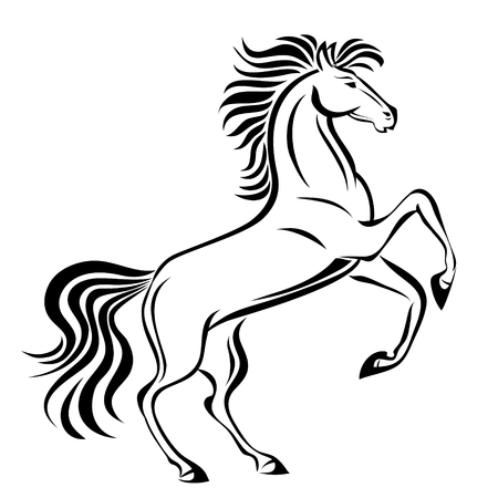 Horse, hand drawn vector stylized illustration for tattoo, logo, t-shirt and bags design. Isolated