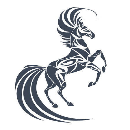 Vector silhouette of horse. Stylized illustration for design of a t-shirt, bag, postcard, tattoo and logo. Isolated