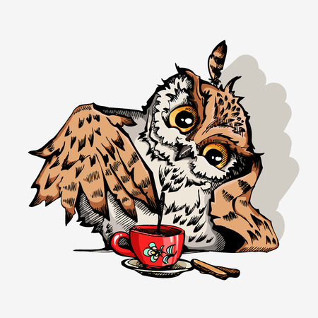 Owl with cup of coffee cute cartoon character, hipster print for t-shirts and bags, design element Standard-Bild - 93021331