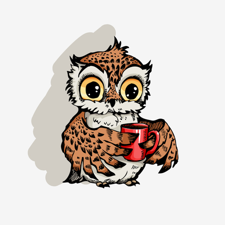 Owl with cup of coffee cute cartoon character, hipster print for t-shirts and bags, design element  向量圖像