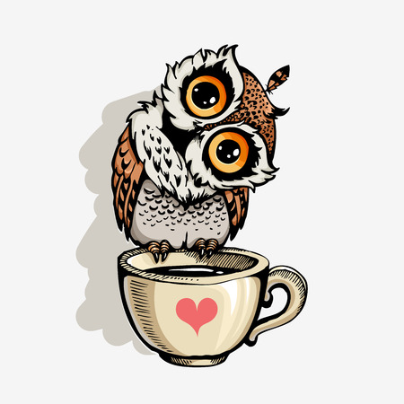 Owl with cup of coffee cute cartoon character, hipster print for t-shirts and bags, design element   イラスト・ベクター素材