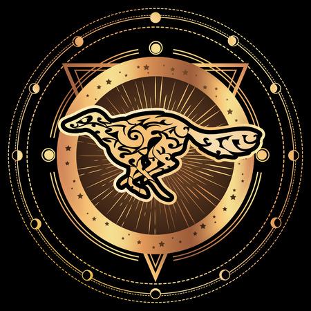 Dog. Zodiac esoteric symbol 2018 year of dog. Ethnic tribal astrology print For t-shirt, bag, postcard,and logo. Tattoo design 向量圖像