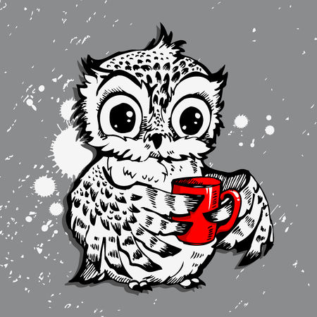 Owl and coffee cup hipster print. Hand drawn poster with grunge background and splash for t-shirt design, bags, notebooks and more