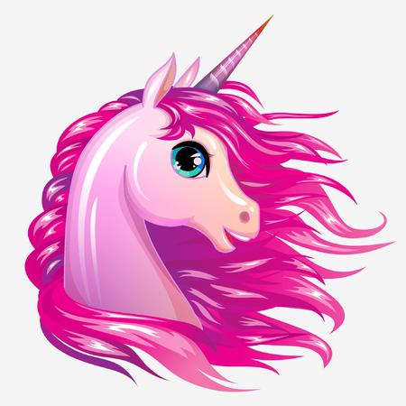 Cute magic vector unicorn character. Magic pony girl head isolated icon Vettoriali