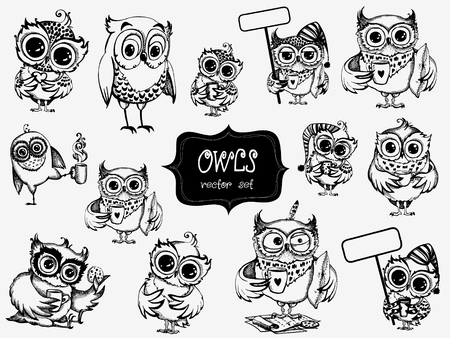 Hand drawn sleepy owls with cup of coffee, funny character set, Inspirational morning collection for cafe menu, prints, mugs, banners.