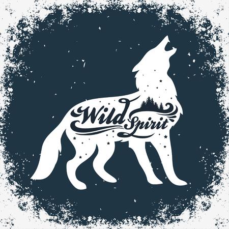 Wild Spirit. Inspiration Typography for t-shirt print. Wolf. Travel, adventure poster. Иллюстрация