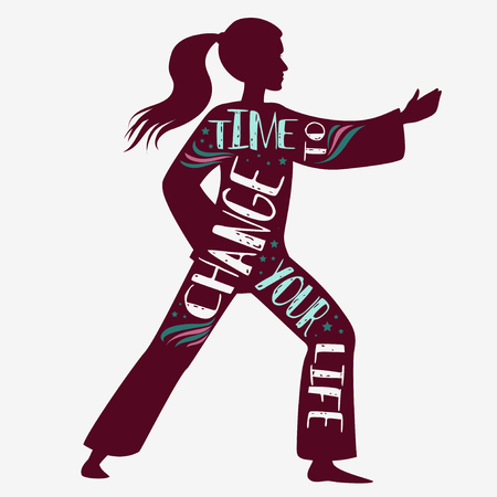 Time to change your life. Fitness vector illustration with female silhouette. Typography design with lettering. It can be used as a print for t-shirts and bags, or banner.