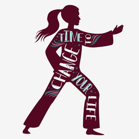 Tijd om je leven te veranderen. Fitness vectorillustratie met vrouwelijk silhouet. Typografie design met letters. Het kan worden gebruikt als een afdruk voor t-shirts en tassen, of banner.