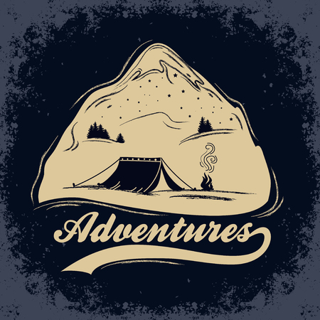Adventures. Hand drawn Inspiration Typography for t-shirt print. Poster with mountain, tent and camp fire.
