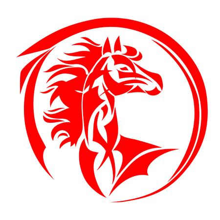 Pferdekopfvektor, stilisierte Illustration Standard-Bild - 93155884