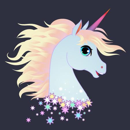 Unicorn head portrait vector illustration