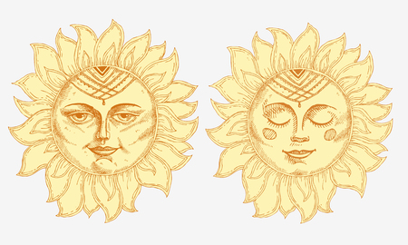 Hand drawn sun with face stylized as engraving vector illustration