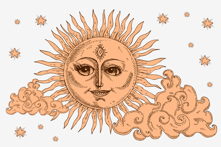Sun with face, clouds and stars stylized as engraving vector illustration
