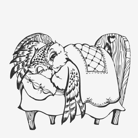 Cute Owl Cartoon Character Line Sketch Vector Illustration Royalty