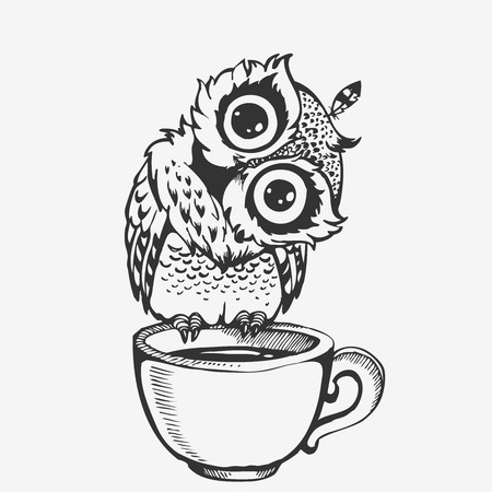 Cute owl cartoon character line sketch vector illustration