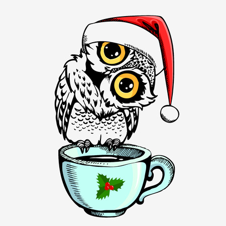 Cute owl with Santa Claus cap and cup. Hand drawn vector inspiration illustration. Can be used for  t-shirt  or bags print, fashion print design, greeting and invitation card.