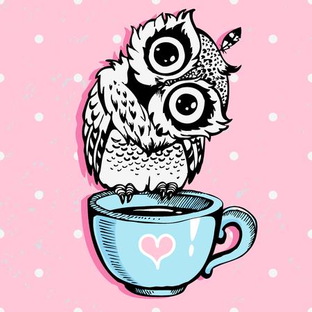 Cute little owl character vector illustration