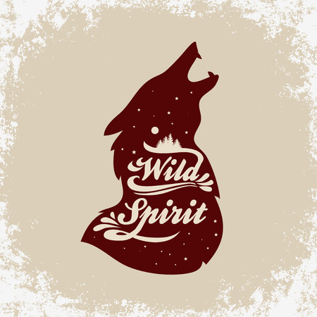 Wild Spirit. Inspiration Typography for t-shirt print. Wolf. Travel, adventure poster. Illustration