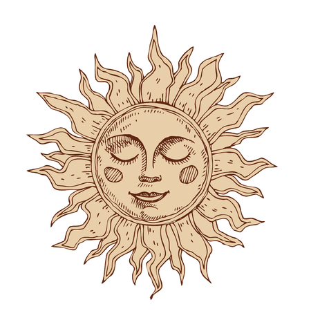 Hand drawn sun with face stylized as engraving. 矢量图像