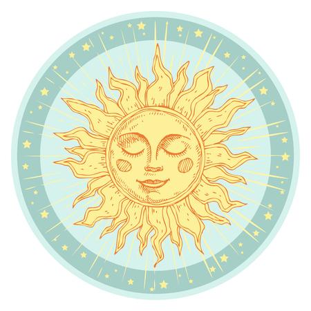 Sole disegnato a mano con faccia e starburst stilizzati come incisione. Può essere usato come stampa per magliette e borse, carte, elementi decorativi. Simbolo di astrologia vettoriale