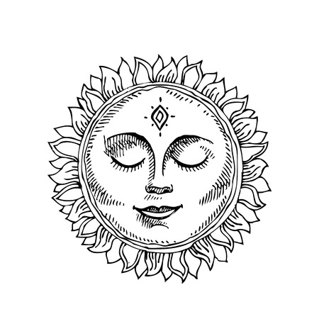 Hand drawn sun with face stylized as engraving. Can be used as print for T-shirts and bags, cards, decor element. Vector astrology symbol. Иллюстрация
