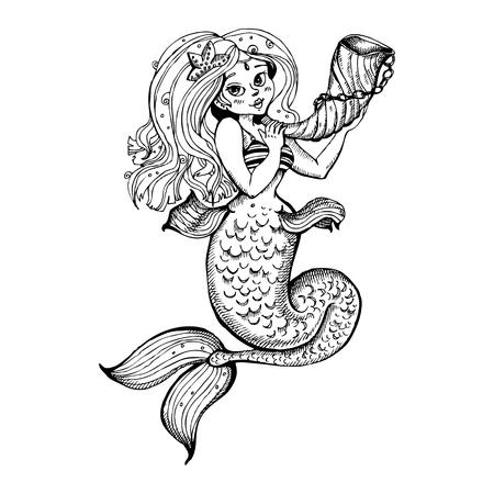 Hand drawn beauty mermaid with long hair. Fantasy mythology print for T-shirt and bags. Vector illustration.
