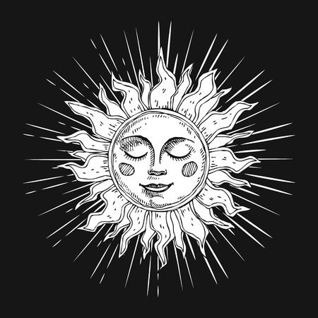 Hand drawn sun with face and starburst stylized as engraving. Can be used as print for T-shirts and bags, cards, decor element. Vector astrology symbol. Ilustrace
