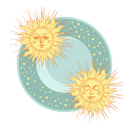 Hand drawn sun with face and starburst stylized as engraving. Can be used as print for T-shirts and bags, cards, decor element. Vector astrology symbol. Illustration