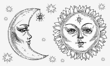 Sole e luna con la faccia stilizzata come incisione. Può essere usato come stampa per magliette e borse, elemento decorativo. Giorno e notte. Simbolo di astrologia vettoriale disegnato a mano.
