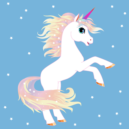 Unicorn vector  illustration. Magic fantasy horse design for children t-shirt and bags. Childish character White unicorn  with rainbow hair