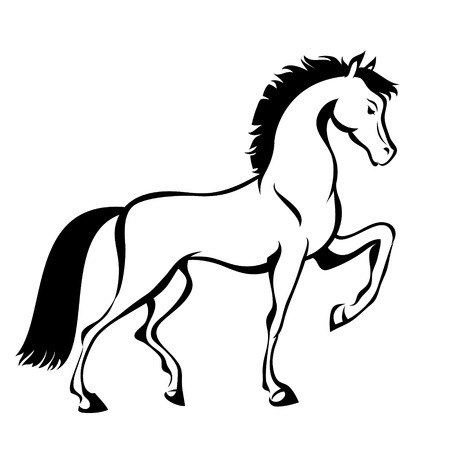 Horse, hand drawn vector stylized illustration for tattoo, signage, t-shirt and bags design. Isolated 일러스트