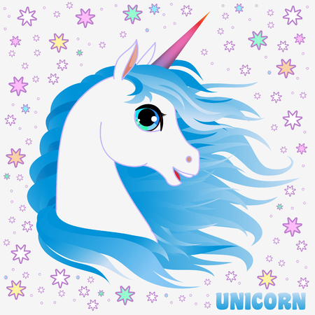 Unicorn head portrait vector illustration. Magic fantasy horse design for children t-shirt and bags. Childish character White unicorn  with blue hair Illustration