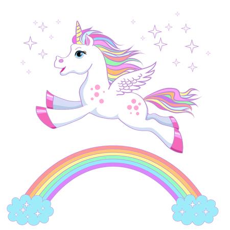 Unicorn vector illustratie. Magisch fantasiepaardontwerp voor kinder t-shirt en tassen. Kinderachtig karakter Witte eenhoorn met regenbooghaar